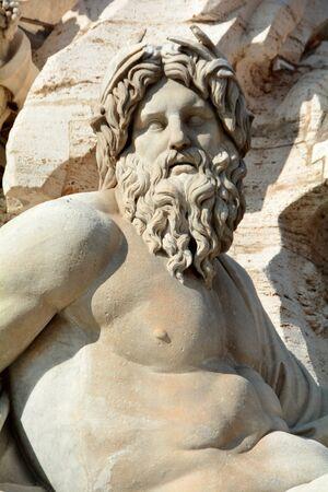 bernini: Carved statue by Bernini at Piazza Novana in Rome Italy.