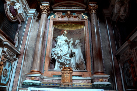 iconic: Religious iconic sculpture inside the church. Editorial
