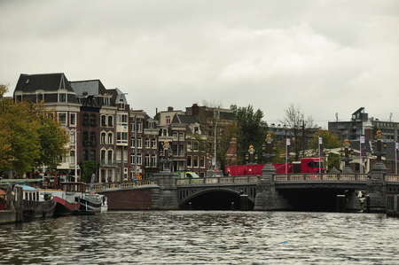 amsterdam canal: Amsterdam canal  bridge and businesses.