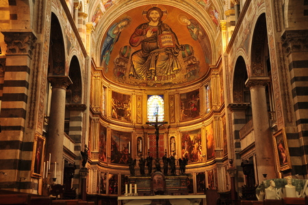 Inside the church in Pisa Italy. Editorial