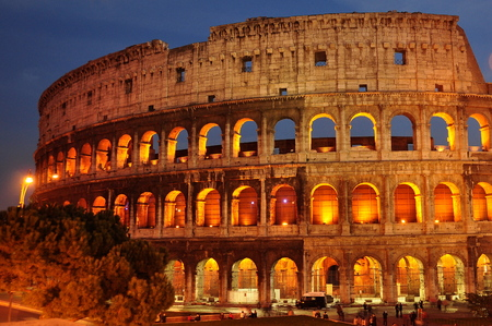 nightime: Roman Colosseum in Rome in the evening light.
