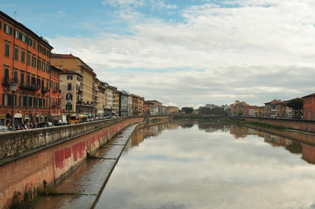 arno: Pisa Italy landscape and the Arno River. Editorial