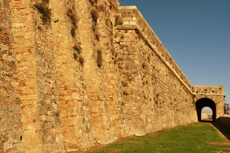 fortezza: Fortress wall of Bourbon Fortezza in Civetella del Tronto Italy.
