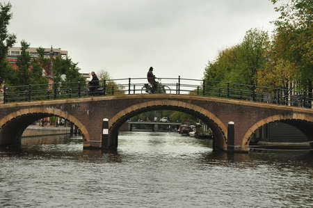 amsterdam canal: Amsterdam canal and bridge.
