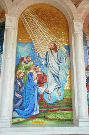 bible story: Religious mosaic of Christ rising. Stock Photo