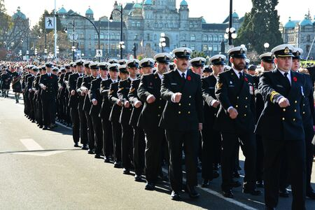 marchers: Remembrance day,Victoria BC,Canada and the marchers Editorial