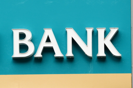 mortage: Bank sign.Come to the bank and save.