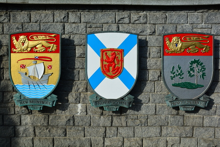 Coats of arms for the provinces of New Brunswick, Nova Scotia and PEI