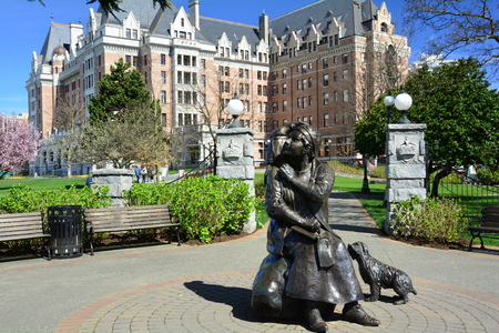 Empress Hotel and Emily Carr statue in Victoria BC,Canada