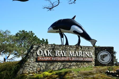 Oak Bay Marina Orca sign in Victoria BC,Canada