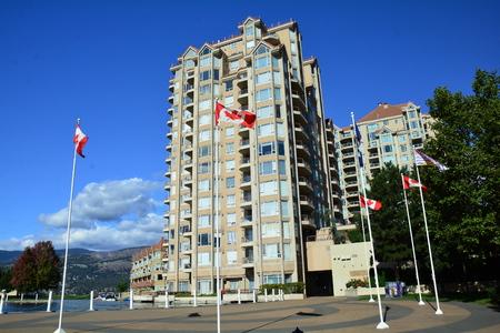 Kelowna BC, Canada, September 11th 2018. High rise condos make for high end real estate in Kelowna. Come to the Okanagan Valley and visit Kelowna. Editorial