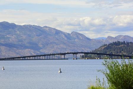 Okanagan bridge spanning the Okanagan lake in the Okanagan Valley at Kelwona.