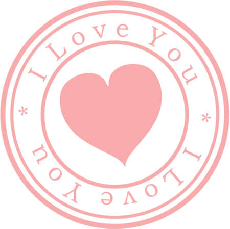 Stamp  I love you . Pink. A vector illustration. Isolated Stock Vector - 707278