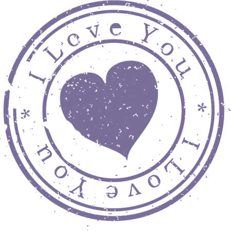 Stamp  I love you . Blue. A vector illustration. Isolated