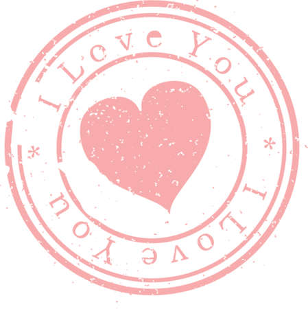 Stamp  I love you . Pink. A vector illustration. Isolated Illustration
