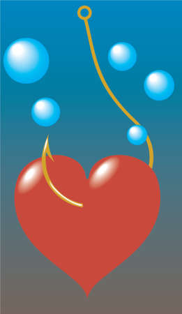 Heart have caught on a hook. A vector illustration. Stock Vector - 727702