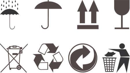 reciclar vidrio: S�mbolos para los temas del embalaje. La imagen del vector. Se a�sla en un fondo blanco. Vectores