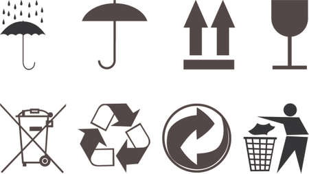 Symbols for packing subjects. The vector image. It is isolated on a white background.