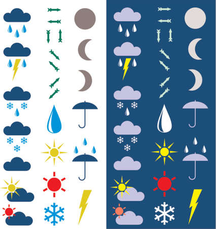 Symbols for the indication of weather. A vector illustration. A dark and light background.