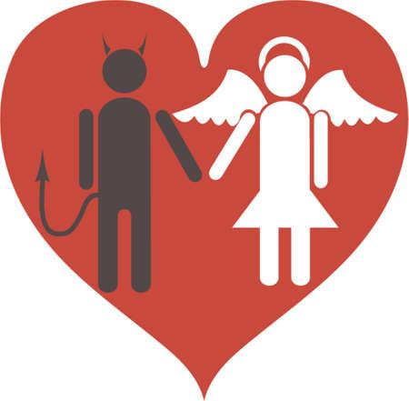 diablo y angel: Diablo y Angel. Es el amor. Una ilustraci�n vectorial. Es aislados sobre un fondo blanco.