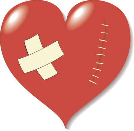 Wound on heart from love. A vector illustration. It is isolated on a white background. Vector