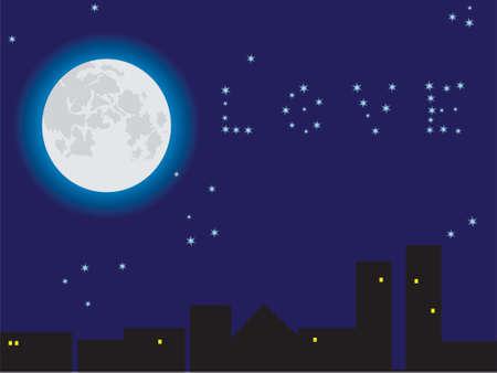 The moon in the star sky. A vector illustration. Vector