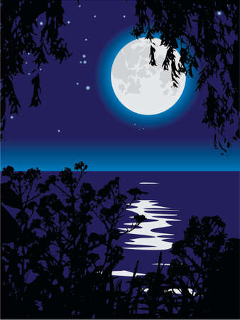 distant: Lunar path on lake at night. A vector illustration.