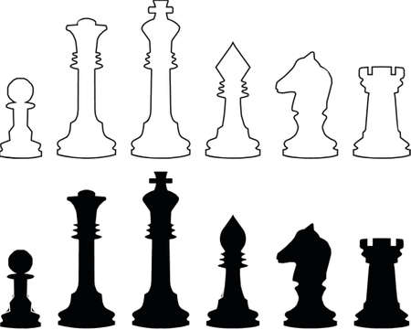 Chessmen, black and white contours. A vector illustration. It is isolated on a white background.