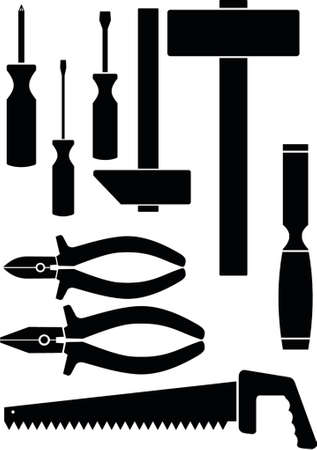 Set of the hand tool. A vector illustration. It is isolated on a white background.