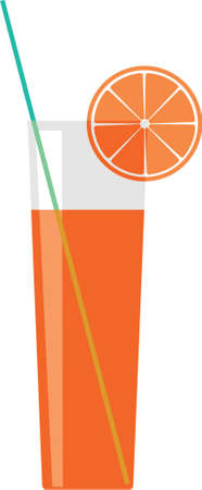 Citron juice in a glass. A vector illustration. It is isolated on a white background.