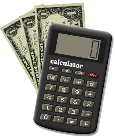 The financial calculator and three dollars. It is isolated on a white background.
