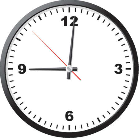 round face: Office clock. A vector illustration. It is isolated on a white background.