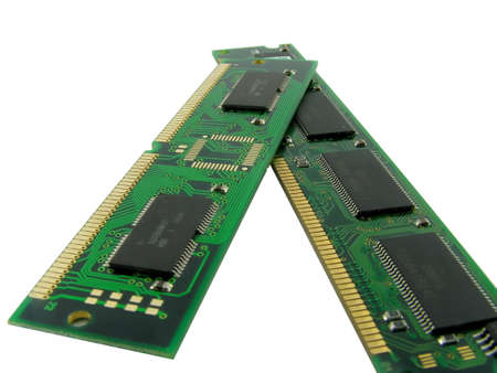dimm: Memory of a computer. A close up. It is isolated on a white background.