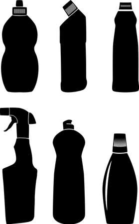 Bottles for washing-up liquids. A vector illustration. It is isolated on a white background.