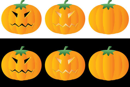Halloween pumpkins. Set. A vector illustration. Stock Vector - 1667757