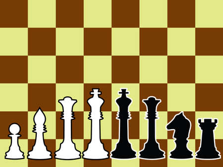 Chessmen, black and white contours. A vector illustration. On a chessboard background. Vector