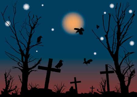 Halloween night scene. A vector illustration. Stock Vector - 1702387