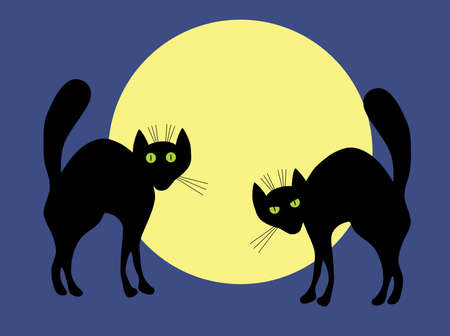 Two black cats. A vector illustration. Vector