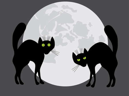 angry sky: Two black cats. A vector illustration. Gray variant.
