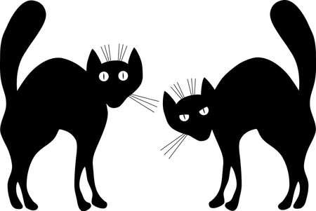 superstitious: Due gatti neri. Una illustrazione vettoriale. Contorno.