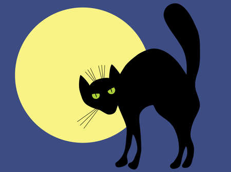 Black cat and moon. A vector illustration. Vector