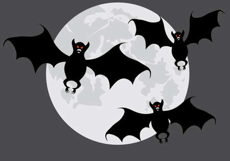 variant: Bats on a background of the moon. A vector illustration. A contour. Grey variant.