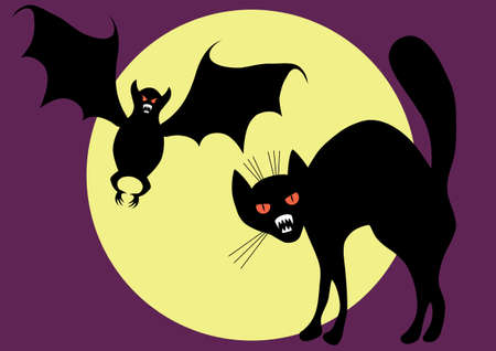 Bat and cat on a background of the moon. A vector illustration. Vector