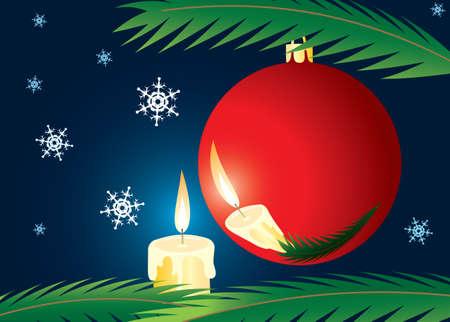 Candle and xmas ball. A christmas card. A vector illustration.