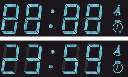 oclock: The display a digital clock. And vector illustration. Illustration