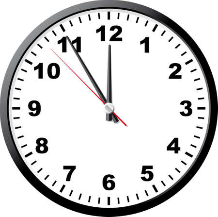 12 o'clock: Office clock. A vector illustration. It is isolated on a white background.