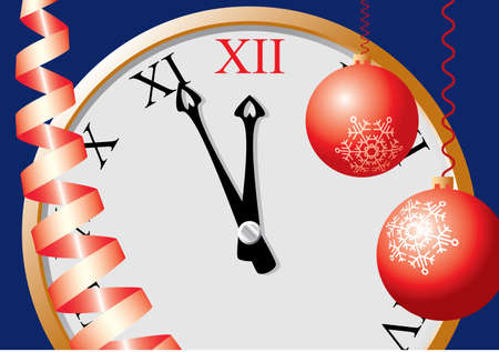 12 o'clock: 5 minutes up to Christmas. A vector illustration. Illustration