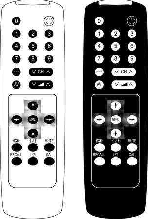 Remote control the TV. Vector illustration. Isolated on white background. Illustration