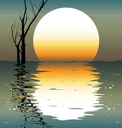 Lake. A night scene. A vector illustration. Stock Vector - 2286939