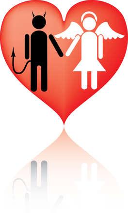 Angelo e diavolo. E 'amore. Una illustrazione vettoriale. E 'isolato su uno sfondo bianco.
